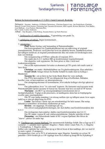 Referat fra bestyrelsesmøde d. 17.3.2011 i hotel Comwell ... - stfnet.dk