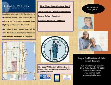 Legal Aid Society of Palm Beach County The Elder Law Project Staff