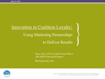 Innovation in Coalition Loyalty: Using Marketing ... - Airline Information