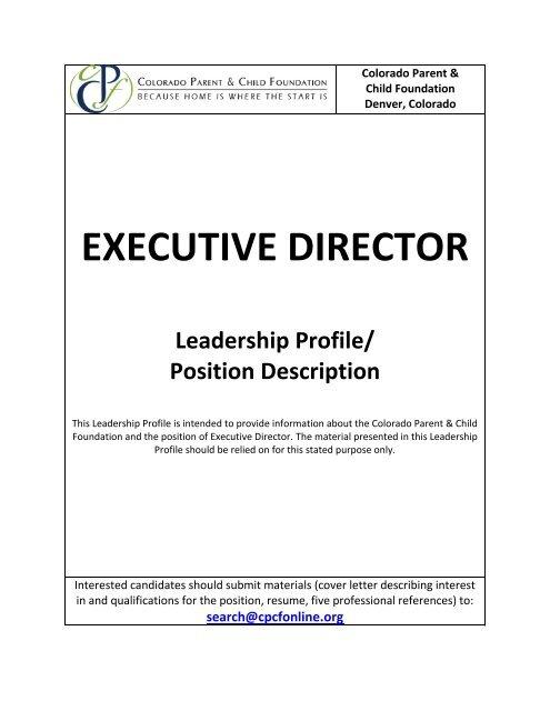 CPFC Executive Director Position - Colorado Head Start ...