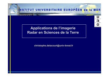 Applications de l'imagerie Radar en Sciences de la Terre