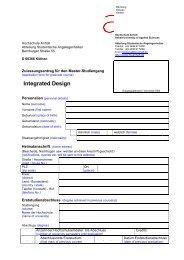 Application Form - Dessau Department of Design - Hochschule Anhalt