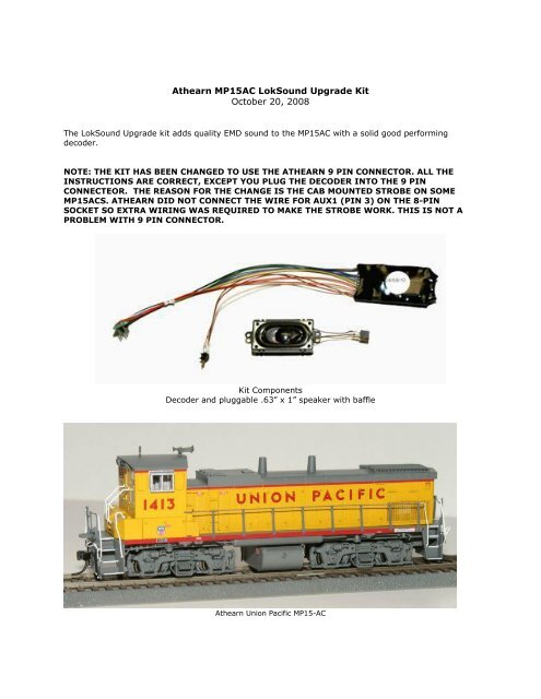 Athearn MP15AC LokSound Upgrade Kit - Ulrich Models