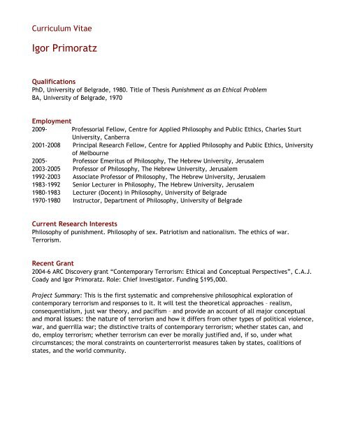 View My Cv Pdf Cappe Centre For Applied Philosophy And