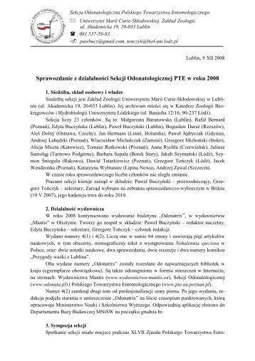 Sprawozdanie z działalności Sekcji Odonatologicznej PTE w roku ...