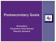 Postsecondary Goals - Region 10 Education Service Center