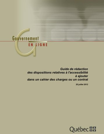 Guide de rédaction des disposition relatives à l'accessibilité à ...