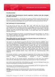 Informationen zum Providerwechsel - Managed Service Provider