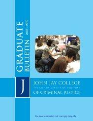 g r a d u a t e bulletin - John Jay College Of Criminal Justice - CUNY