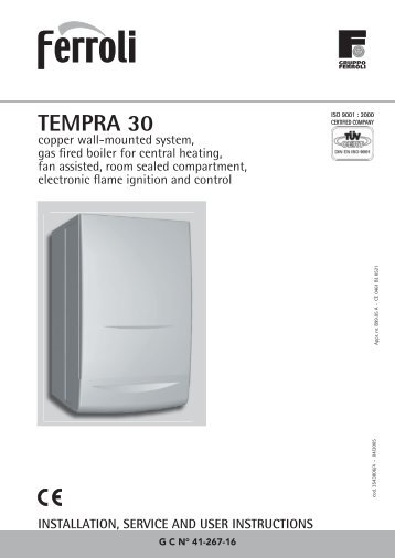 Boiler manuals: ferroli tempra 24.