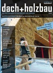 Zum eMagazine Supplement dach+holzbau 2.2012 - Bauhandwerk