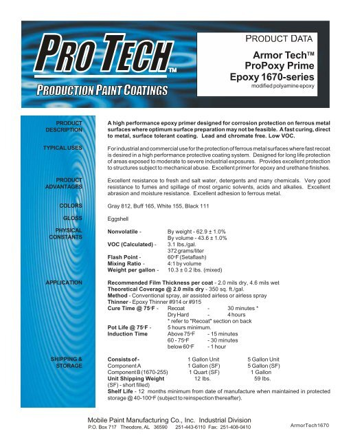 Armor TechTM ProPoxy Prime Epoxy 1670-series - BLP Mobile Paints