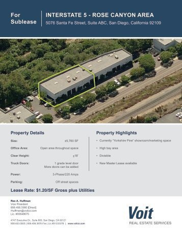 For Sublease INTERSTATE 5 - ROSE CANYON AREA