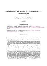 Online Lernen mit moodle in Unternehmen und Verwaltungen