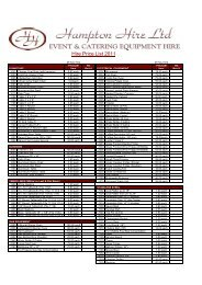 Hire Price List 2011 - Hampton Hire