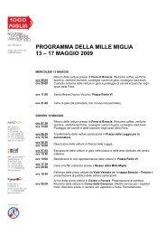 PROGRAMMA DELLA MILLE MIGLIA 13 – 17 MAGGIO 2009