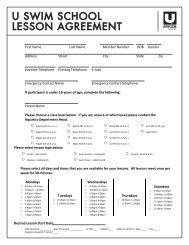 U SWIM SCHOOL LESSON AGREEMENT - Life Time Fitness