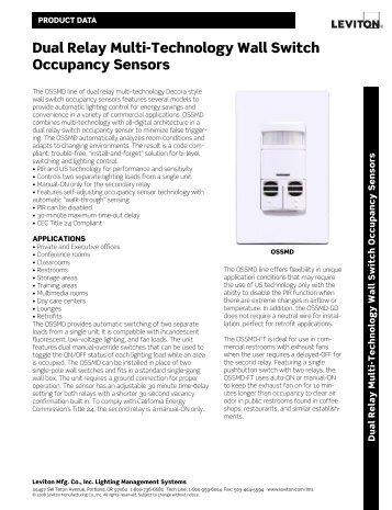 Ultrasonic Dual Circuit Wall Switch Occupancy Sensor