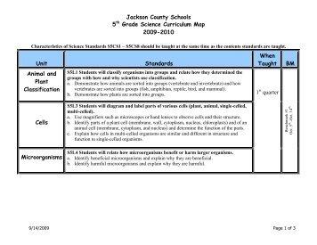 Jackson County Schools 5th Grade Science Curriculum Map 2009 ...