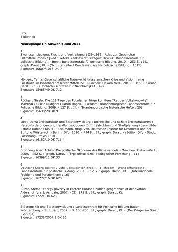 Juni 2011 1 Zwangsumsiedlung, Flucht und Vertreibung 1939-1959 ...