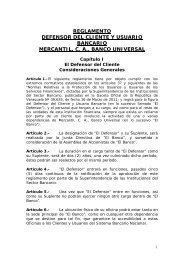 REGLAMENTO DEFENSOR DEL CLIENTE Y USUARIO BANCARIO ...