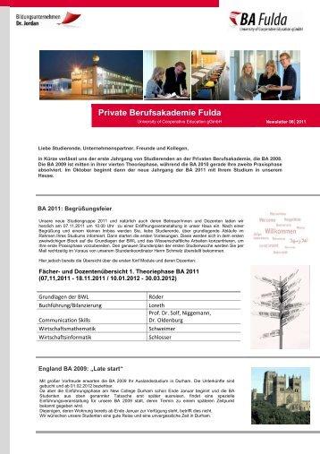 Newsletter 08 2011 - Private Berufsakademie Fulda