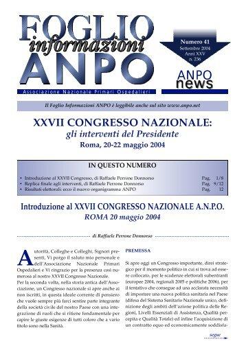 XXVII CONGRESSO NAZIONALE - ANPO