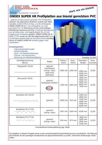 ONDEX SUPER HR Profilplatten aus biaxial gerecktem PVC