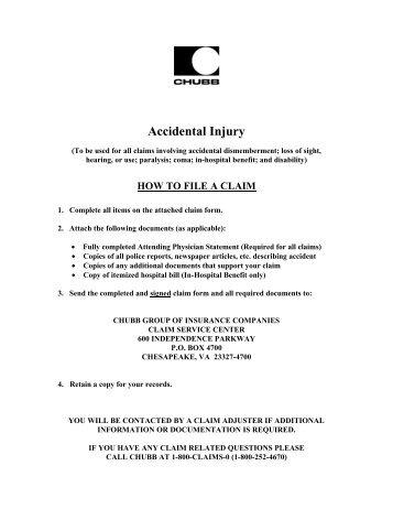 ACCIDENTAL INJURY CLAIM FORM - Aflac