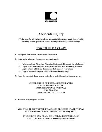 Accidental Injury Claim Form - Aflac
