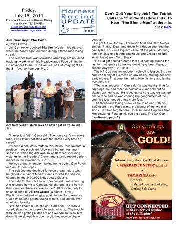 Friday, July 15, 2011 - HarnessRacingUpdate.com