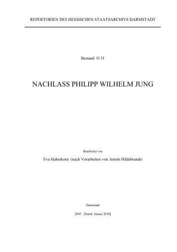 O 31 Nachlass Philipp Wilhelm Jung - Hessen
