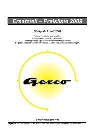 Ersatzteil – Preisliste 2009 - Gerco
