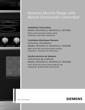 Siemens Electric Range with threeD (Surround ... - Siemens Home