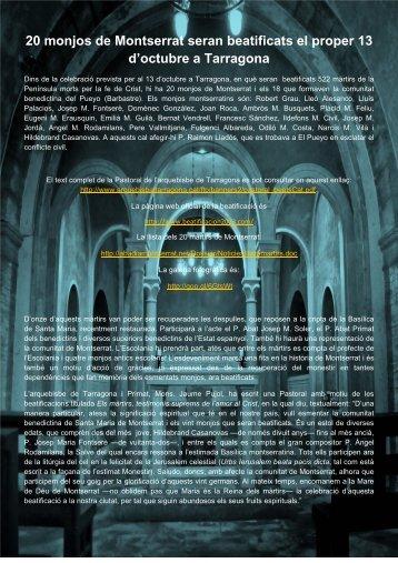 20 monjos de Montserrat seran beatificats el proper 13 d'octubre a ...