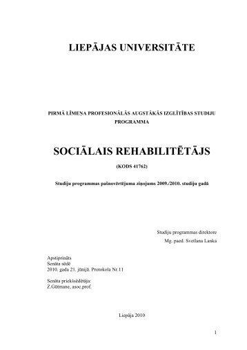 Sociālais rehablitētājs - Liepājas Universitāte