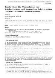 Gesetz über die Wahrnehmung von Urheberrechten und ...