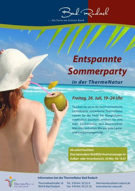 Programm zur Sommerparty - therme Natur Bad Rodach