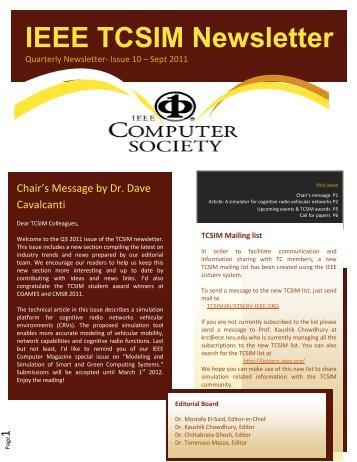 Download the TCSIM Newsletter Issue 10 (September 2011)