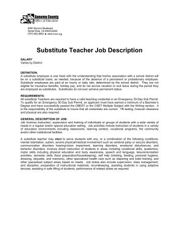 Substitute Teacher Job Description