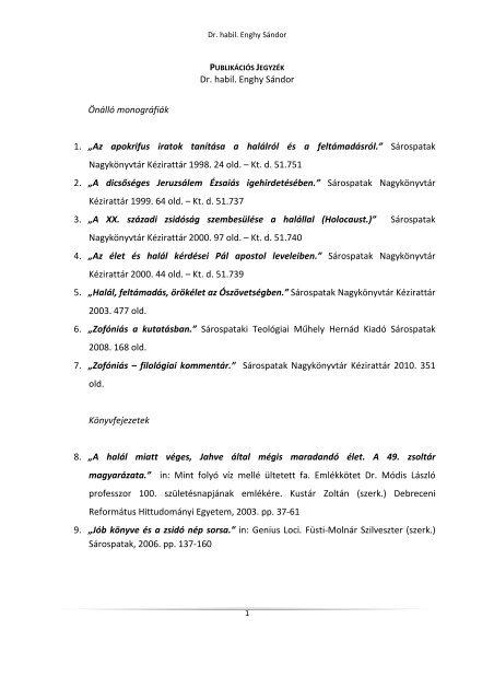 pub.jegyzék 2012 okt.6 - Sárospataki Református Teológiai Akadémia