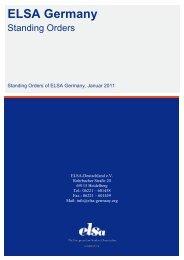 Standing Orders - ELSA Germany