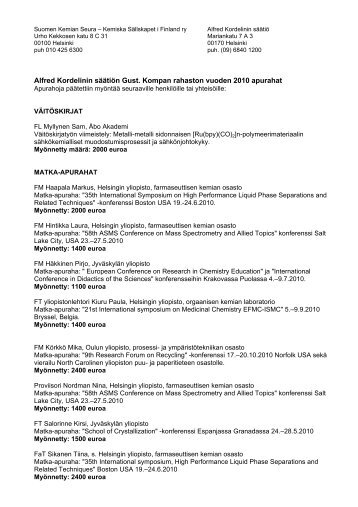 Alfred Kordelinin säätiön Gust. Kompan ... - Suomen Kemian Seura