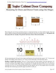 Measuring for Doors and Drawer Fronts using Our Hinges - Ordering ...