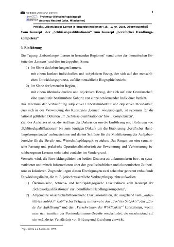 """Vom Konzept der """"Schlüsselqualifikationen"""" zum Konzept ..."""