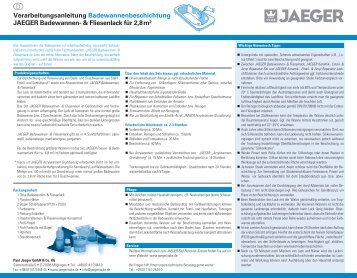 Verarbeitungsanleitung ... - Paul Jaeger GmbH & Co. KG