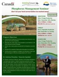 Phosphorus Management Seminar - Agriculture