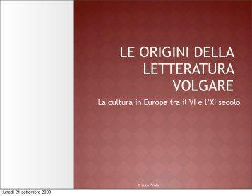 Le origini della letteratura volgare