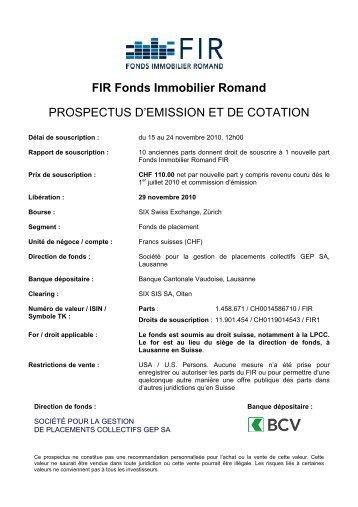 Prospectus d'émission et de cotation - FIR - Fonds Immobilier Romand