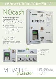 Produktark NOcash - Velvære-Grossisten AS